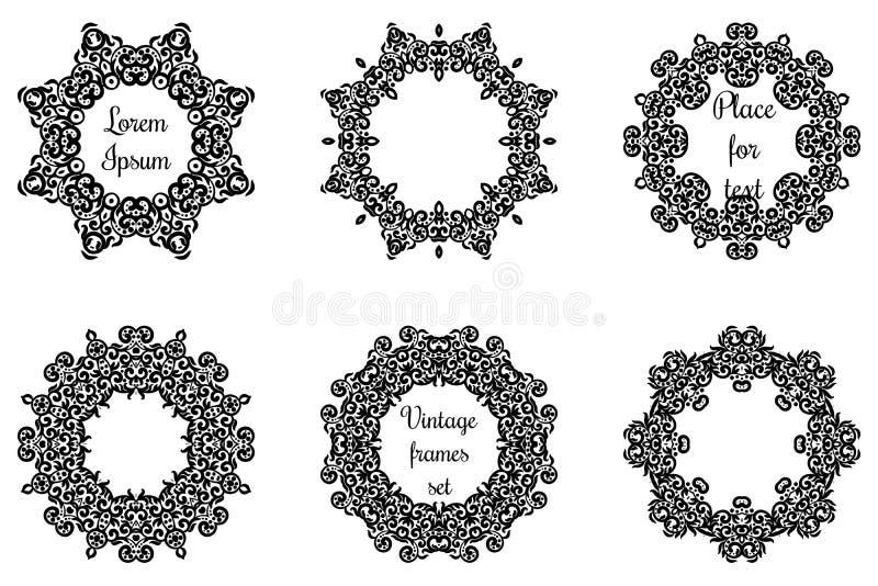 Круглые геометрические орнаменты установили затейливое кружевное иллюстрация вектора