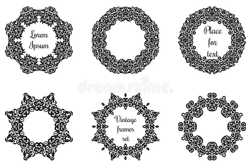 Круглые геометрические орнаменты установили затейливое кружевное иллюстрация штока