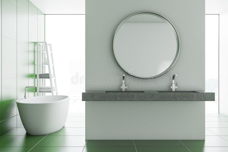 Круглые интерьер, ушат и раковина ванной комнаты зеркала бесплатная иллюстрация