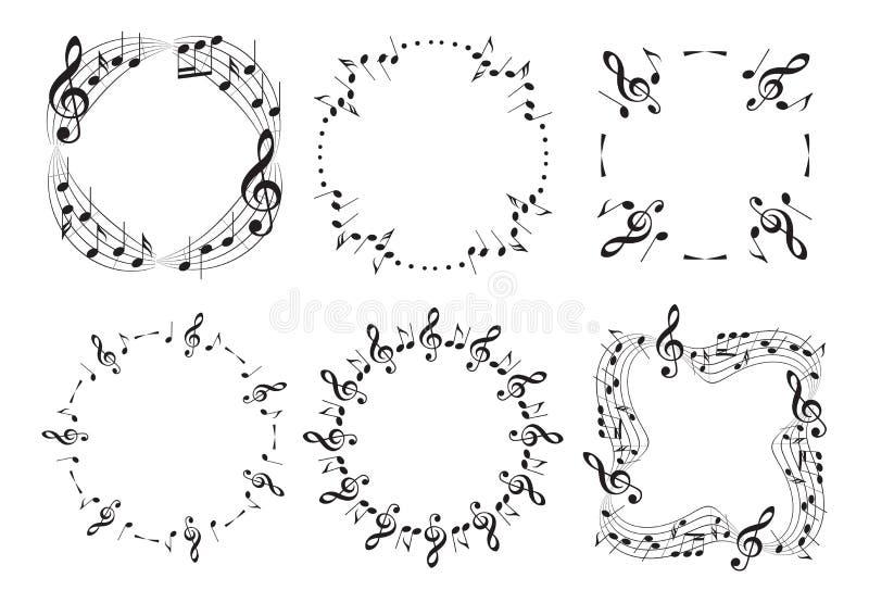 Круглые и волнистые рамки музыки с примечаниями - красивым набором вектора иллюстрация штока