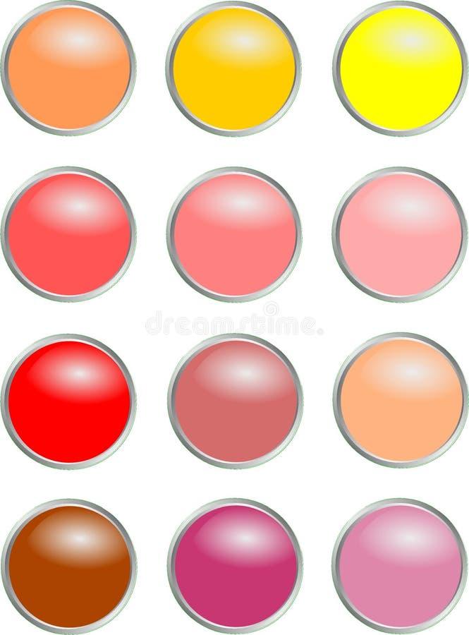 Круглые кнопки - теплые цвета стоковая фотография