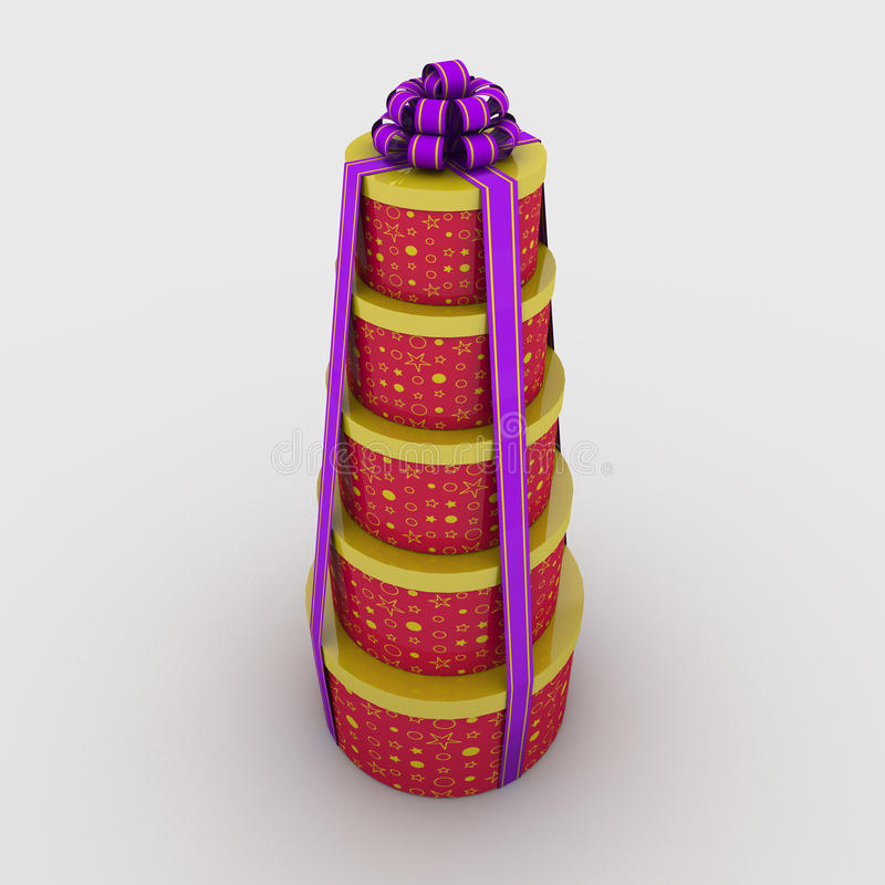 Круглые коробки подарка иллюстрация штока