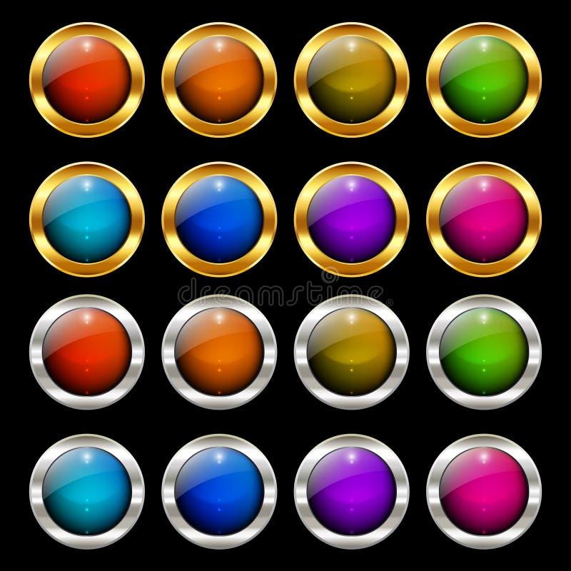 Круглые красочные лоснистые установленные кнопки сети иллюстрация вектора