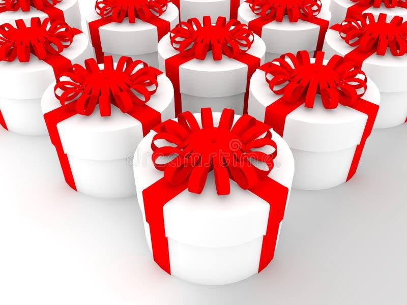 Круглые подарочные коробки в белом цвете иллюстрация 3d бесплатная иллюстрация