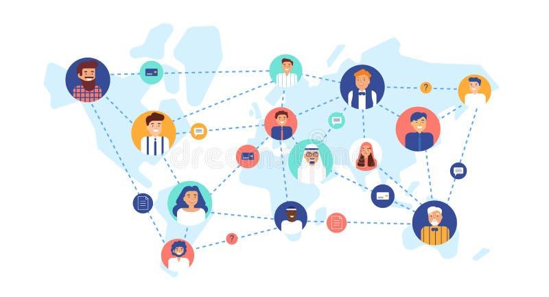 Круглые портреты усмехаясь людей соединились друг с другом на карте мира Международная команда дела, глобальная иллюстрация штока