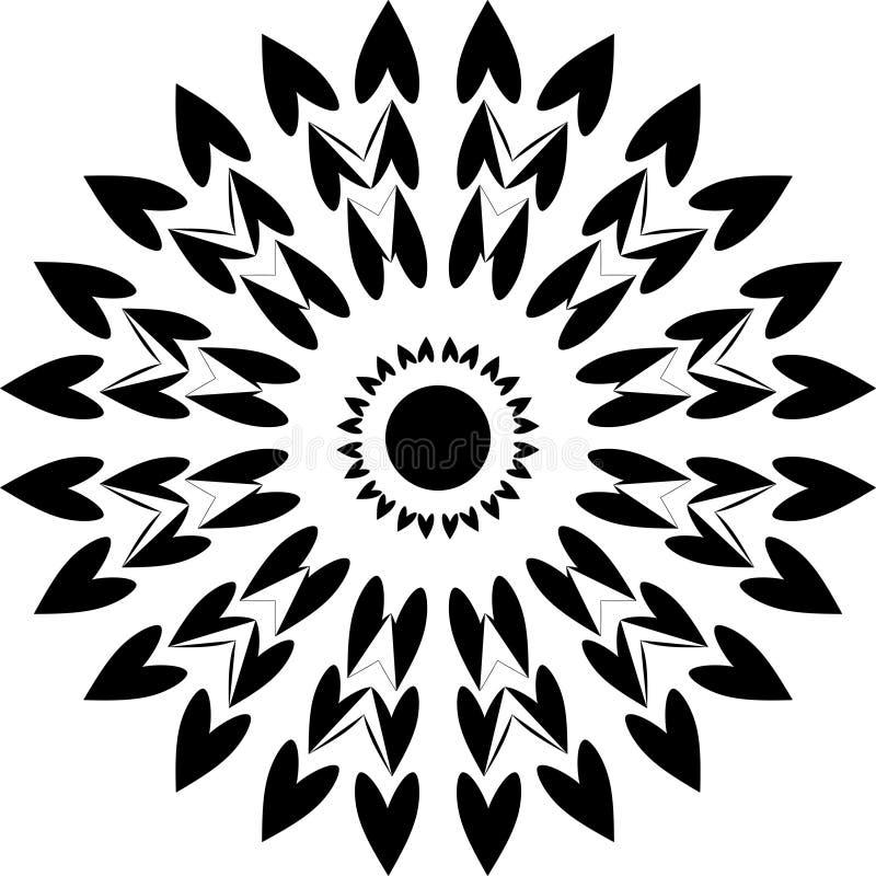 Круглые сердца дизайна, сердца черно-белого, круглого дизайна совместные иллюстрация вектора