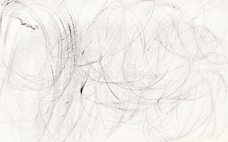 Круглые черные мазки кистей: горизонтальный белый фон стоковое фото rf