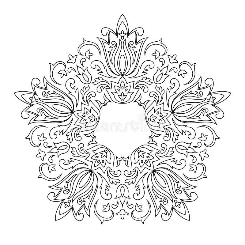 круговой орнамент для книжка раскраски взрослых иллюстрация