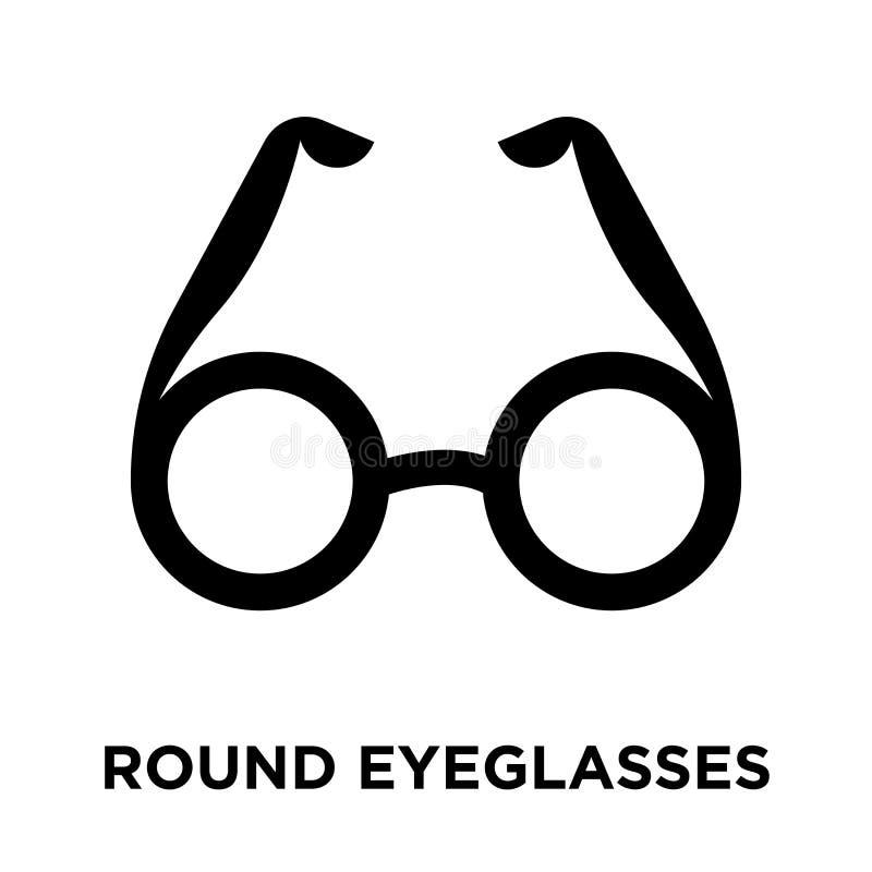 Круглый вектор iconeyeglasses изолированный на белой предпосылке, журнале иллюстрация штока