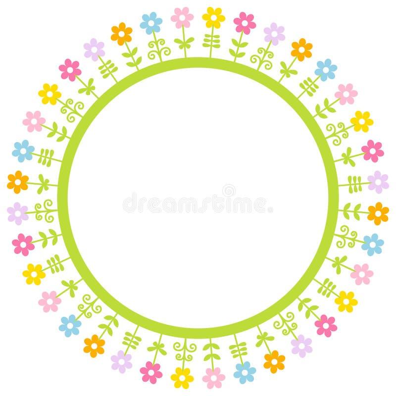 Круглый график рамки цветет другие цвета луга бесплатная иллюстрация