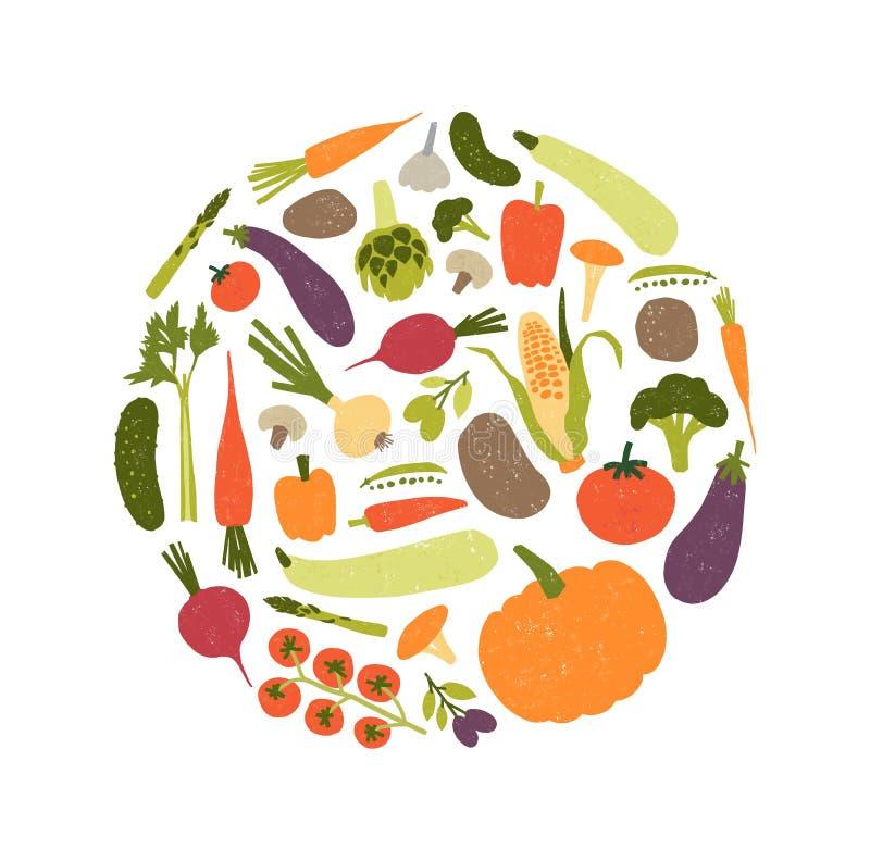 Круглый декоративный состав с свежими сырцовыми зрелыми овощами или сжатыми урожаями Круговой элемент дизайна с едой veggie иллюстрация штока