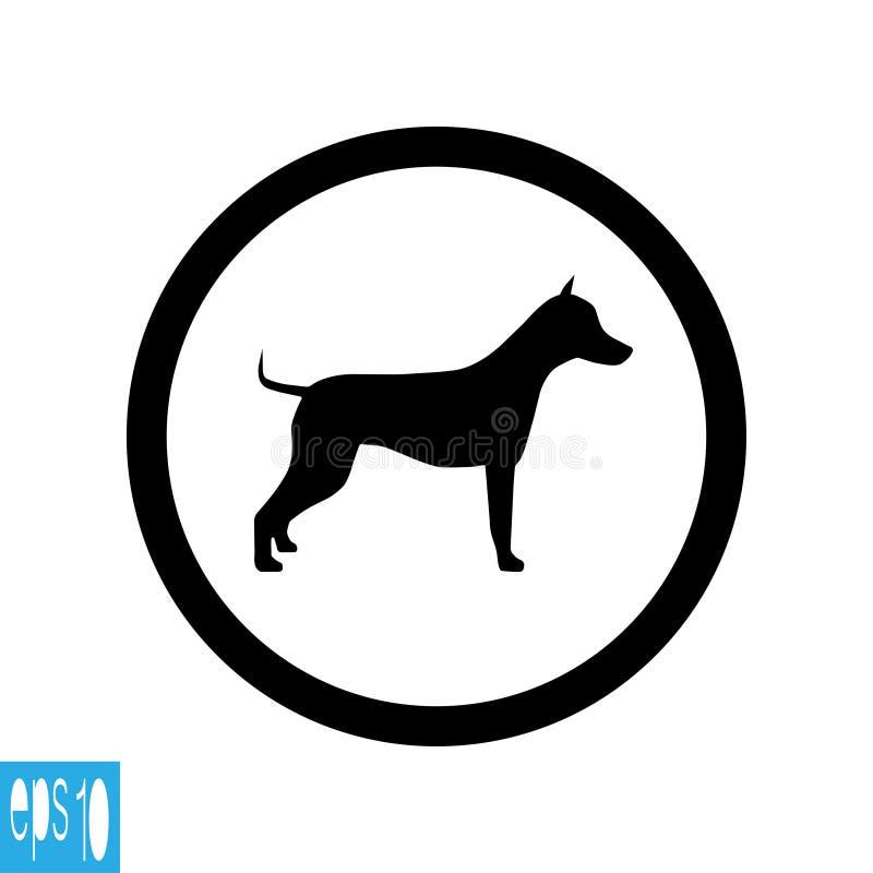 Круглый животный знак, значок на белой предпосылке, черной тонкой линии на белой предпосылке - иллюстрации вектора иллюстрация штока