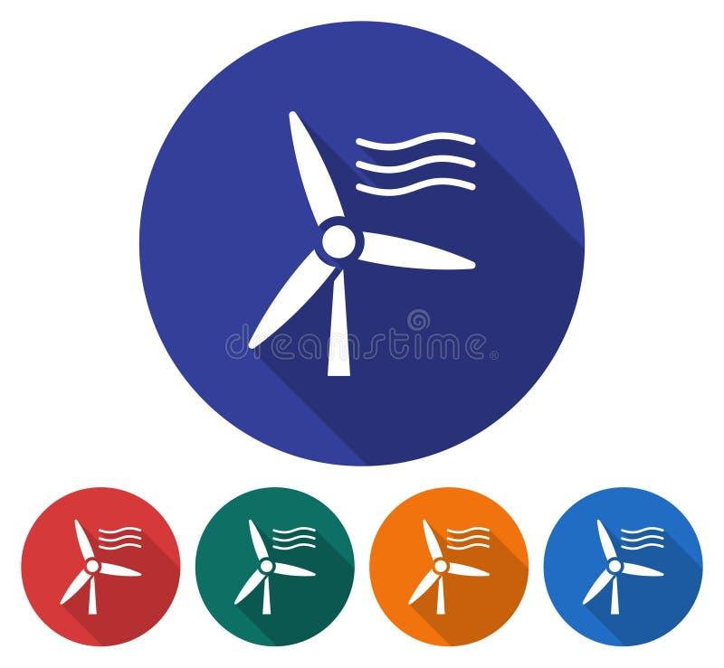Круглый значок ветротурбины бесплатная иллюстрация