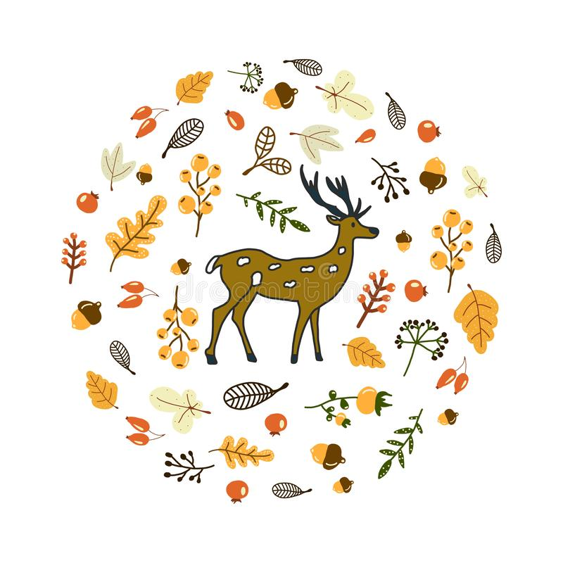 Круглый кадр с набором осенних элементов леса и милым оленем в центре композиции Произведено вручную иллюстрация штока