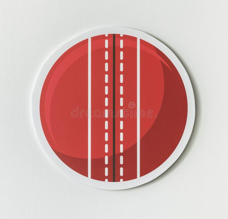 Круглый красный значок шарика сверчка иллюстрация вектора