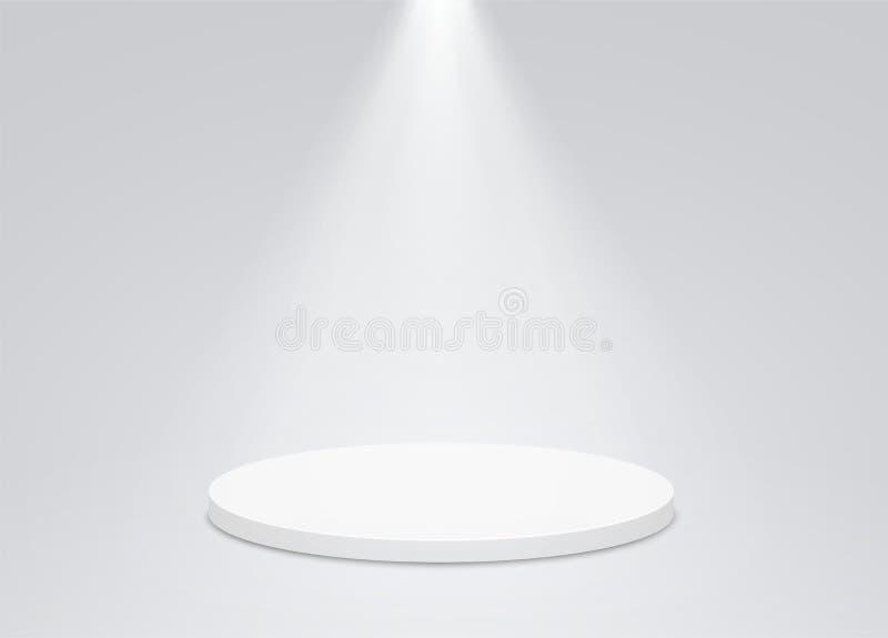 Круглый постамент с ярким освещением, прожектор подиума Подиум победителя, первое место для представления трофеев бесплатная иллюстрация