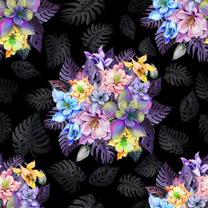 Круглый пук красивых columbine цветков или aquilegia и экзотического monstera выходит на черную предпосылку иллюстрация вектора
