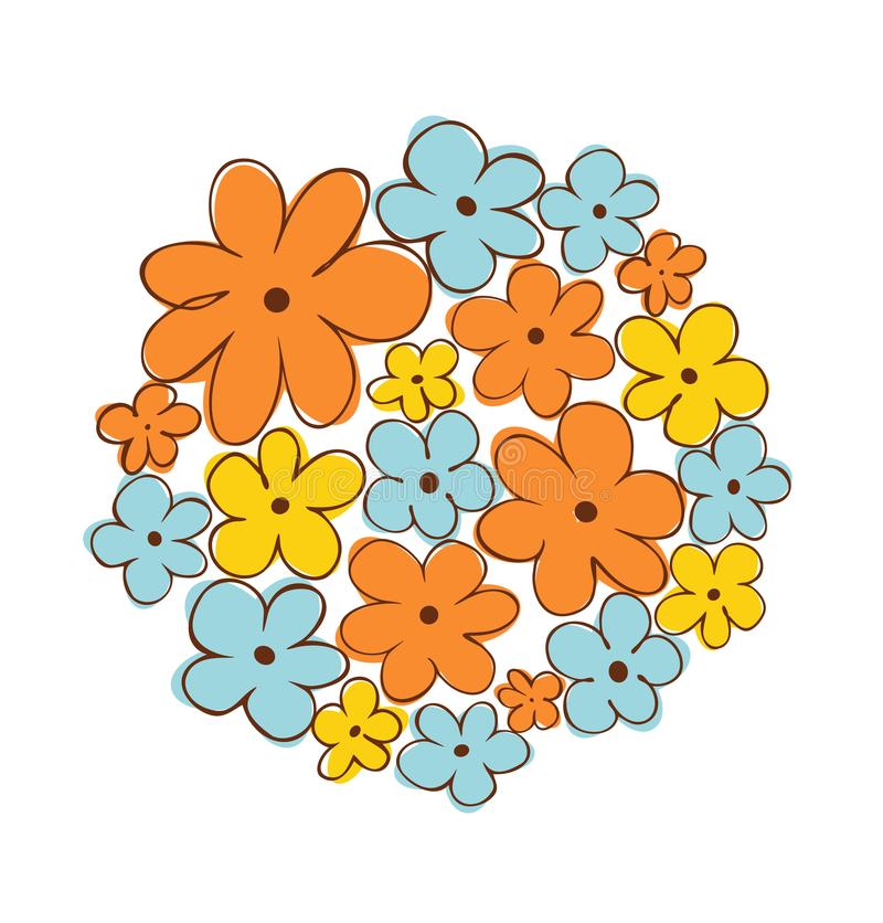 Круглый пук цветков вектор изображения цветка букета яркий Смогите быть использовано для карточек приветствовать и свадьбы, подар иллюстрация вектора
