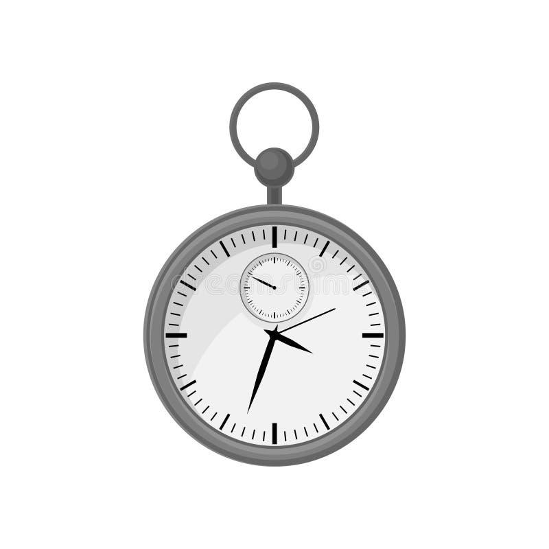 Круглый секундомер в сером стальном случае с кольцом на верхней части Механическое приспособление для измерять время Плоский вект бесплатная иллюстрация