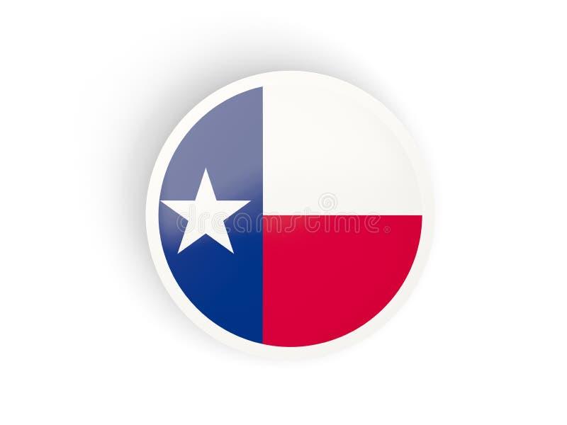 Круглый согнутый значок с флагом Техаса Флаги Соединенных Штатов местные иллюстрация штока