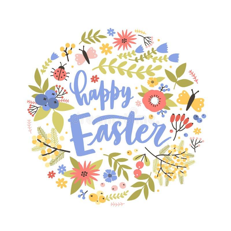 Круглый состав праздника со счастливой литерностью пасхи рукописной с каллиграфическим сценарием, зацветая цветками и иллюстрация штока