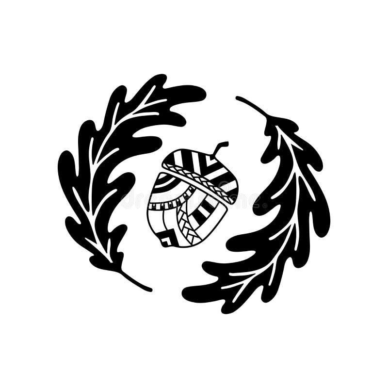 Круглый состав с нарисованными рукой орнаментальными листьями жолудя и дубов иллюстрация штока