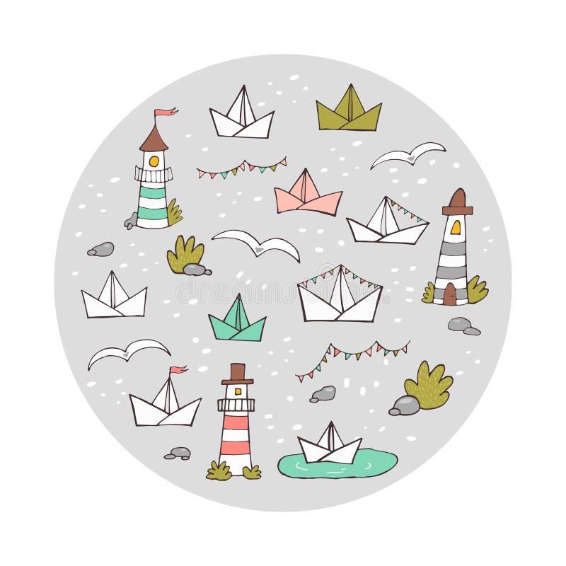 Круглый состав doodle маяков милой руки вычерченных и бумажных кораблей Красочная иллюстрация вектора для печатей, карт, крышек иллюстрация штока