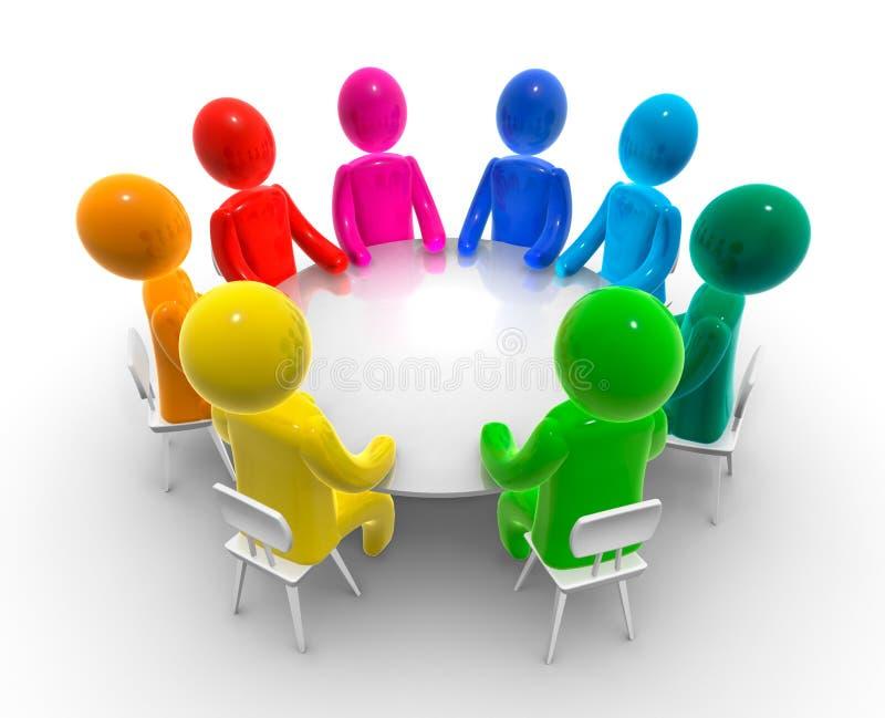 круглый стол обсуждения иллюстрация вектора