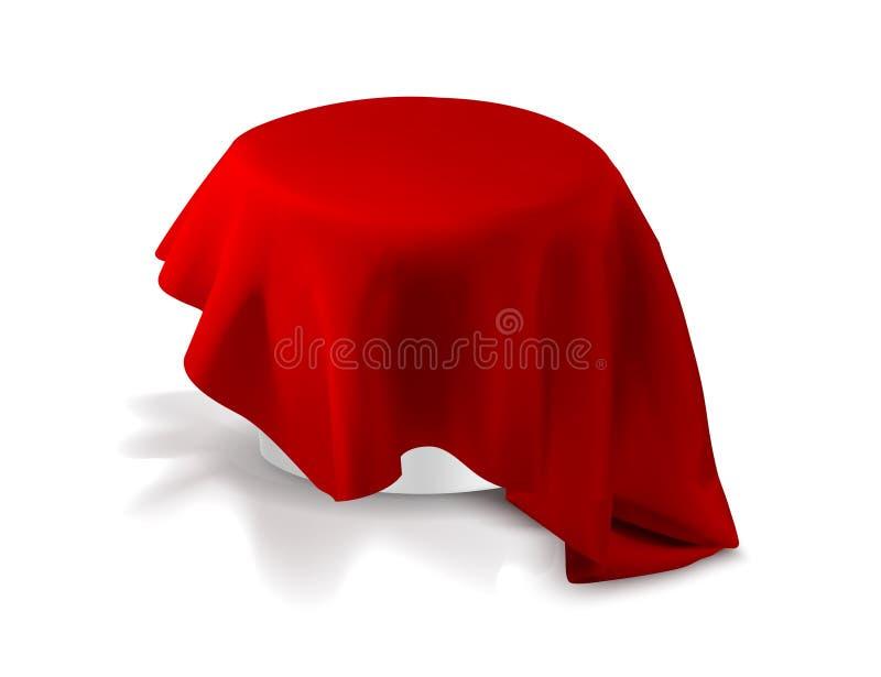 Круглый стол с красной скатертью иллюстрация вектора