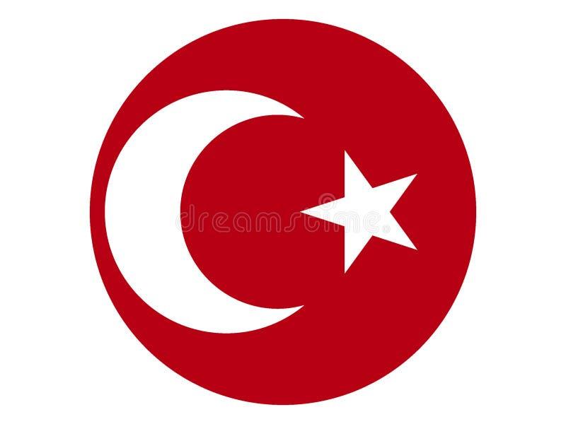 Круглый флаг империи Ottoman иллюстрация вектора