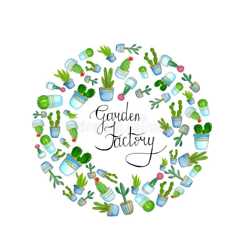 круглый шаблон с водяным цветом с кактусом и ручным литьем - садовый заРиллюстрация штока