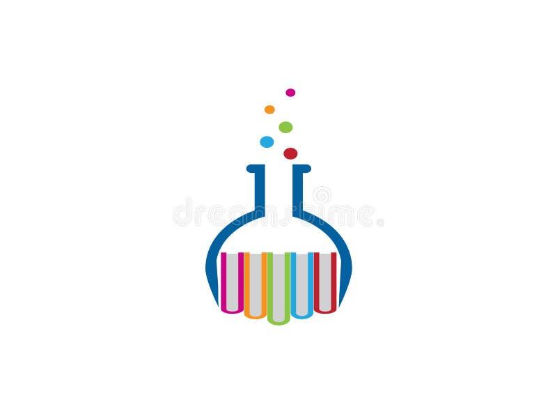 Круглый beaker с дизайном логотипа книг, значком склянки бесплатная иллюстрация