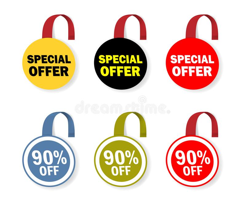 Круглый wobbler продажи Dangler круга для дизайна особенного предложения Набор цвета бирки ярлыка Promo стоковое фото rf