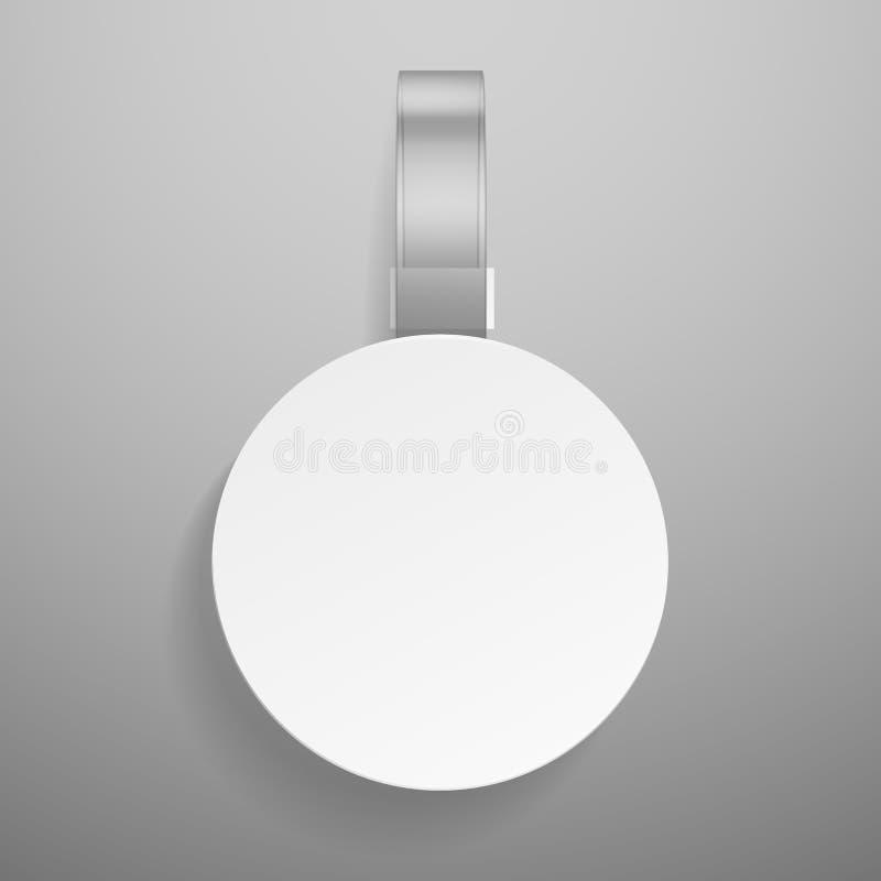 Круглый wobbler Розничное dangler или оцененный рекламой вися ясный пластиковый стикер изолировали шаблон ярлыка вектора белый иллюстрация штока