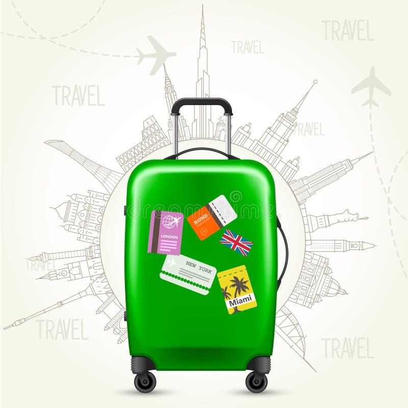 Кругл--мир путешествием - визирования чемодана и мира иллюстрация вектора