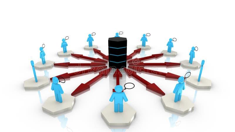 Круговая большая сеть передачи данных иллюстрация штока