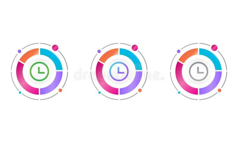 Круговая диаграмма со значком времени концепция значка вектора иллюстрация штока