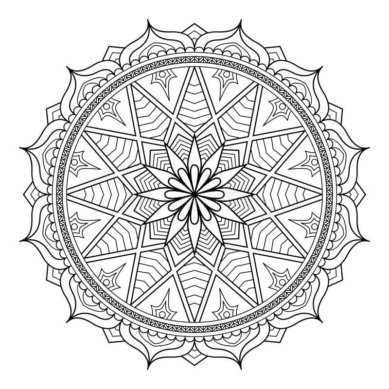 Круговая картина в форме мандалы для хны, Mehndi, татуировки, украшения Декоративный орнамент в этническом восточном стиле иллюстрация штока
