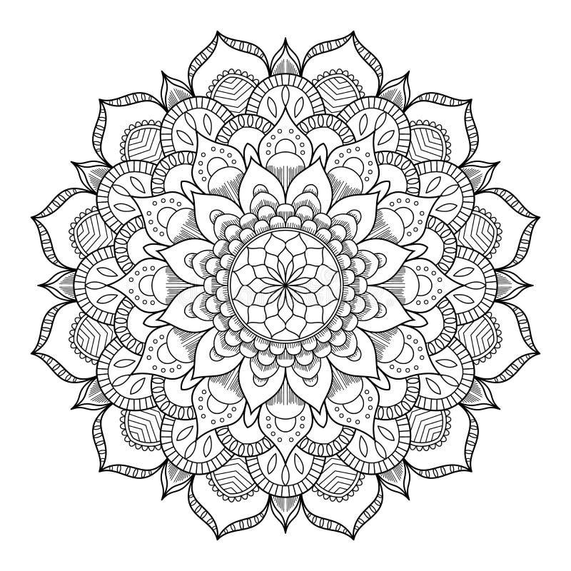 Круговая картина в форме мандалы для хны, Mehndi, татуировки, украшения Декоративный орнамент в этническом восточном стиле иллюстрация вектора