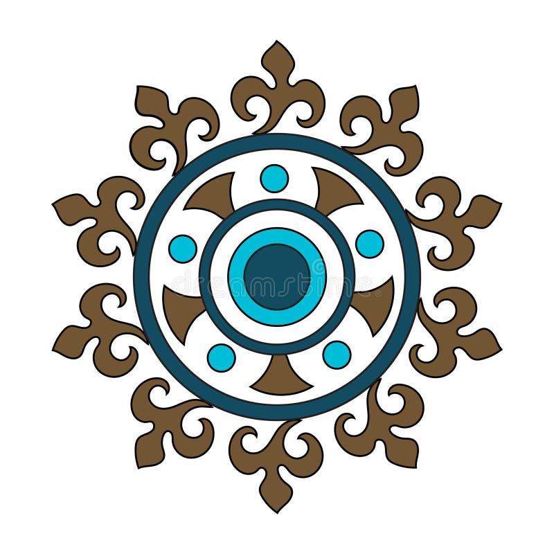 Круговая картина с абстрактными флористическими элементами в ретро стиле Текстильная ткань, печатание и много других зон дизайнов бесплатная иллюстрация