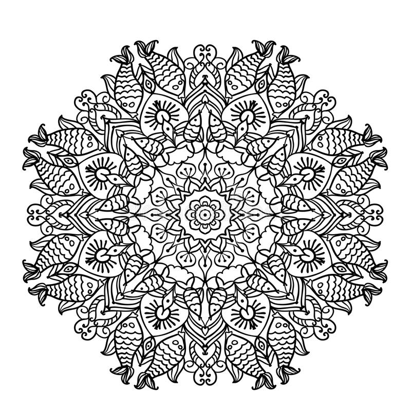 Круговая мандала картины с элементами этнической животной иллюстрации страницы расцветки стиля иллюстрация вектора