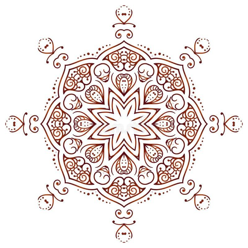 Круговая мандала татуировки хны Mehndi флористического орнамента, коричневый цвет Yantra стоковое изображение