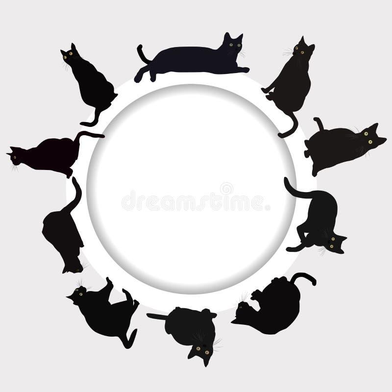 Круговая рамка с черными котами бесплатная иллюстрация