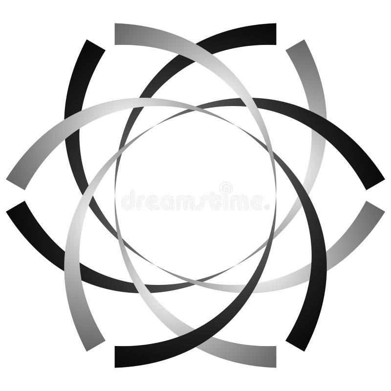 Download Круговая, цикловая спираль, элемент вортекса Shap серой шкалы вращая Иллюстрация вектора - иллюстрации насчитывающей центробежно, роторно: 81814493