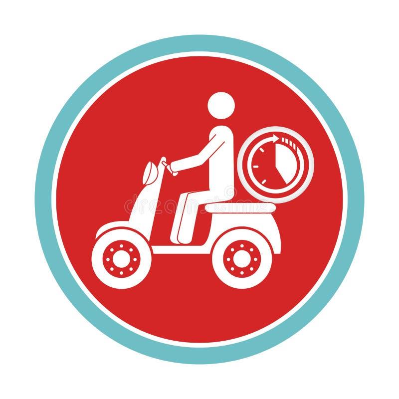 Круговая эмблема с работником доставляющим покупки на дом в самокате и таймере дальше бесплатная иллюстрация