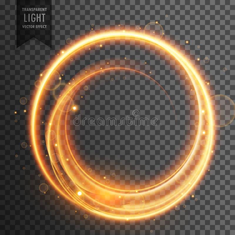 Круговое золотое светлое прозрачное влияние пирофакела объектива иллюстрация вектора