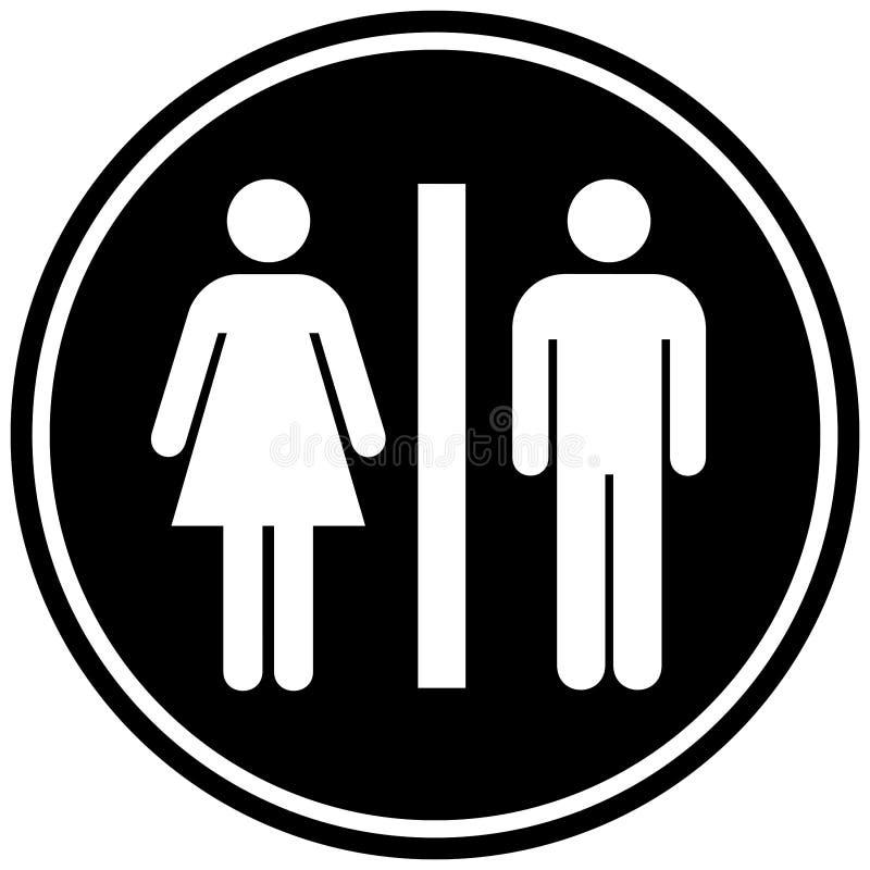 Круговой знак WC ванной комнаты черная белизна Изолировано на белизне иллюстрация вектора