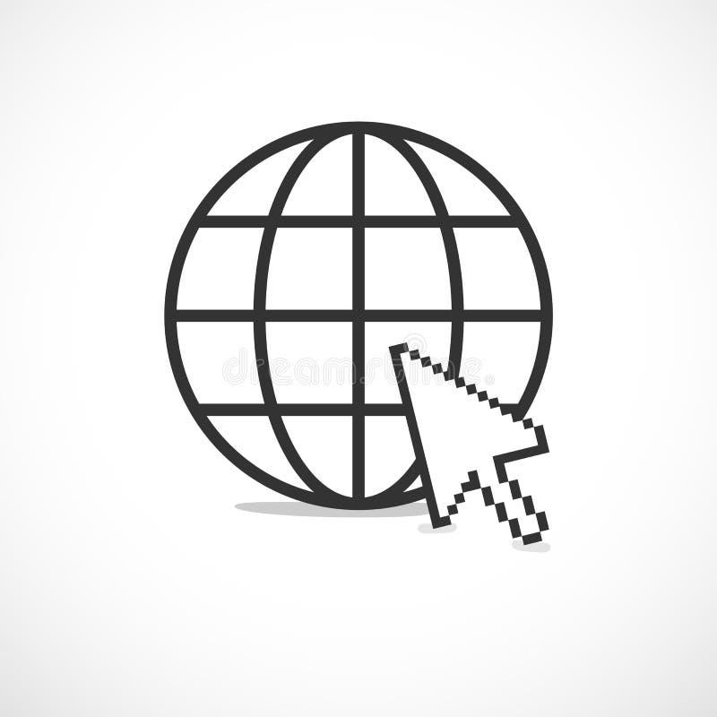 Круговой значок интернета планеты бесплатная иллюстрация