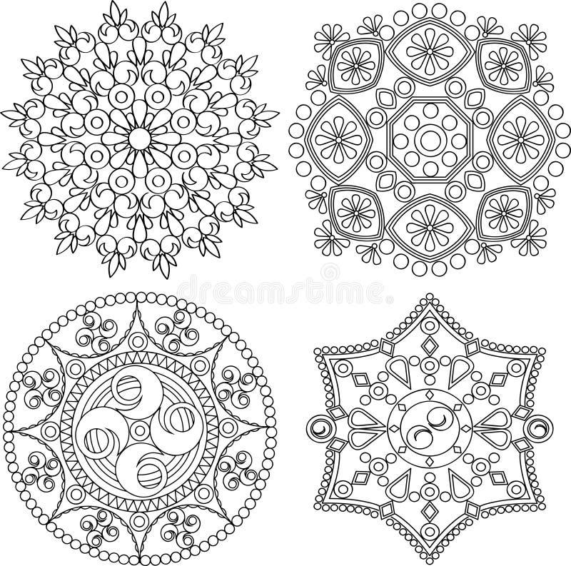 Круговой комплект орнамента Круглая мандала картины иллюстрация вектора