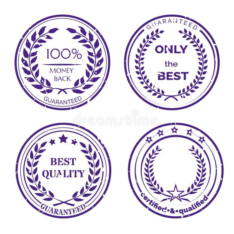 Круговой комплект ярлыка гарантии на белой предпосылке иллюстрация штока